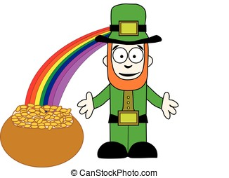 Leprechaun with pot of gold at end