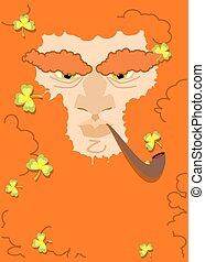Leprechaun with red beard. St. Patricks Day character. Irish...