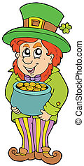 Leprechaun with treasure pot - vector illustration.