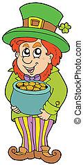 Leprechaun with treasure pot - vector illustration.