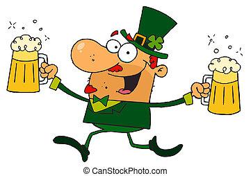 Leprechaun With Two Pints of Beer - Male Leprechaun Running...