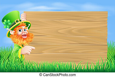 Leprechaun wood sign - An illustration of a St Patricks day ...