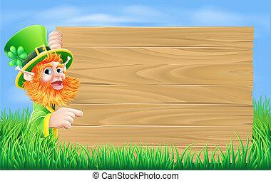 Leprechaun wood sign - An illustration of a St Patricks day...