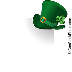 Leprechaun's hat - Page corner with St. Patrick\'s Day green...