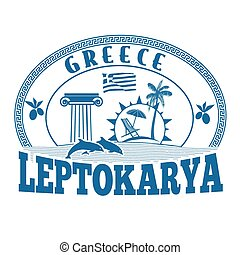 Leptokarya, Greece stamp or label