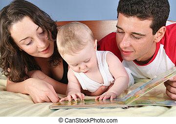 ler, bebê, 2, livro, família