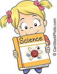ler, ciência, menina, livro, criança
