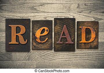ler, conceito, madeira, letterpress, tipo