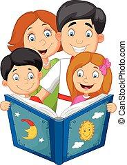 ler, história, hora dormir, família, caricatura