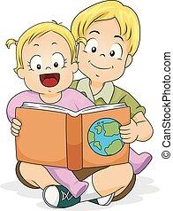ler, irmão, ilustração, livro, menina bebê, geografia