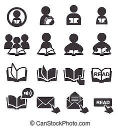 ler, jogo, ícone
