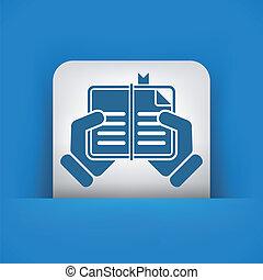 ler, livro, ícone