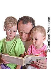 ler, livro, crianças, avô