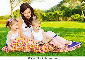ler, livro, crianças, mãe