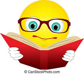 ler, livro, ilustração, vetorial, vermelho, smiley-ball, óculos