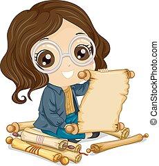 ler, menina, scroll, ilustração, criança
