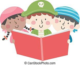 ler, pirata, ilustração, livro aberto, crianças