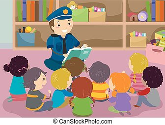 ler, polícia, stickman, crianças, ilustração, livro