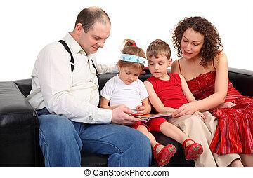 ler, sofá, livro, pais, crianças