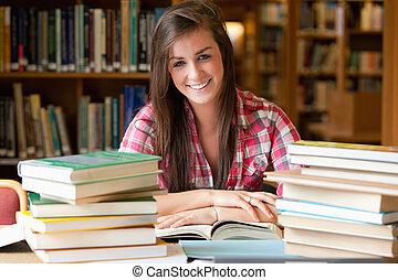 ler, sorrindo, lote, estudante, tendo