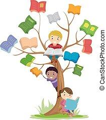ler, stickman, crianças, árvore, livro