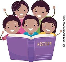 ler, stickman, história americana, crianças, africano, livro