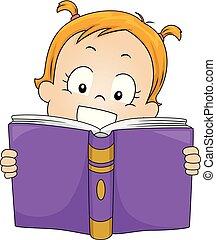 ler, toddler, livro, ilustração