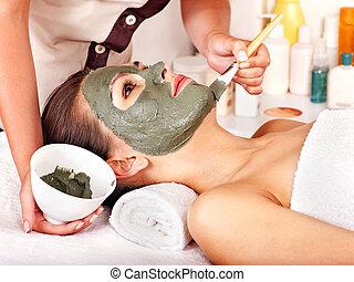 lera, ansikts maskera, in, skönhet, spa.