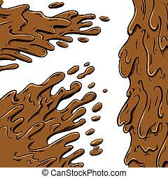 lera, stänk, tecknad film