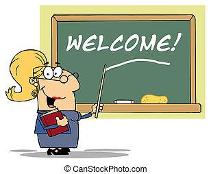 leraar, blonde , dame, school