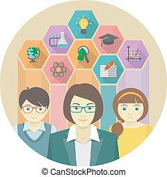 leraar, concept, leerlingen