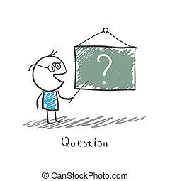 leraar, en, chalkboard
