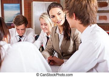 leraar, het op elkaar inwerken, met, scholieren