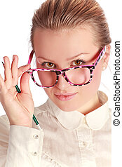 leraar, in, gekke , brillen