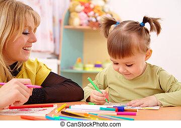 leraar, met kind, in, preschool