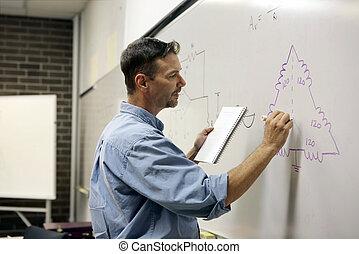 leraar, plank, schrijvende