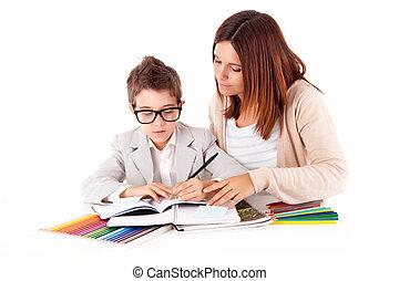 leraar, portie, moeder, vrouw, schoolwerk, vrolijke , of, geitje