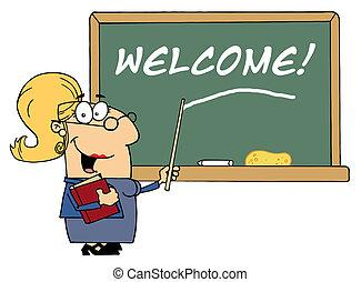 leraar, school, wijzende, welkom
