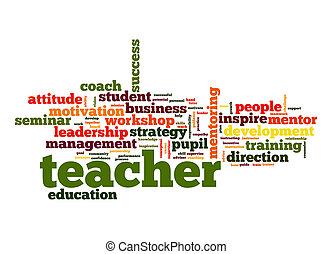leraar, woord, wolk