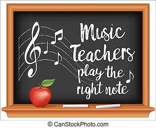 leraren, muziek, chalkboard, appel