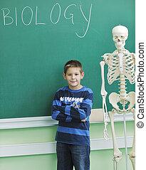 leren, biologie, in, school