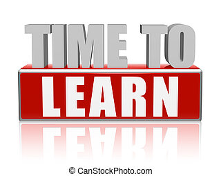 leren, brieven, 3d, blok, tijd