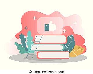 leren, concept., vector, kennis, illustratie