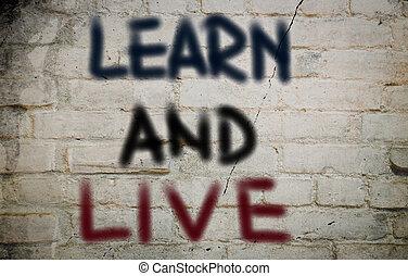 leren, en, leven, concept