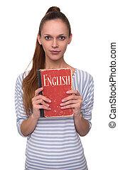 leren, engelse , concept., mooi meisje, vasthouden, een, book.