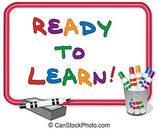 leren, gereed, whiteboard