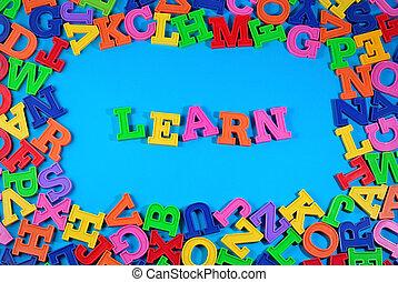 leren, geschreven, door, plastic, kleurrijke, brieven