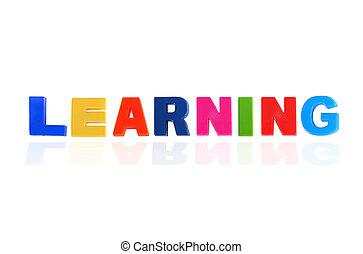 leren, geschreven, in, veelkleurig, plastic, geitjes, brieven