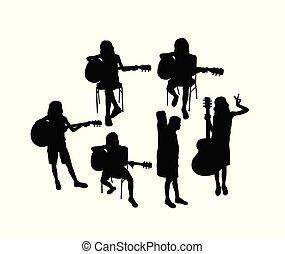 leren, kinderen, gitaar, silhouette