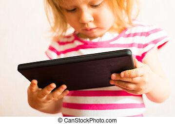leren, met, aanraakscherm, tablet